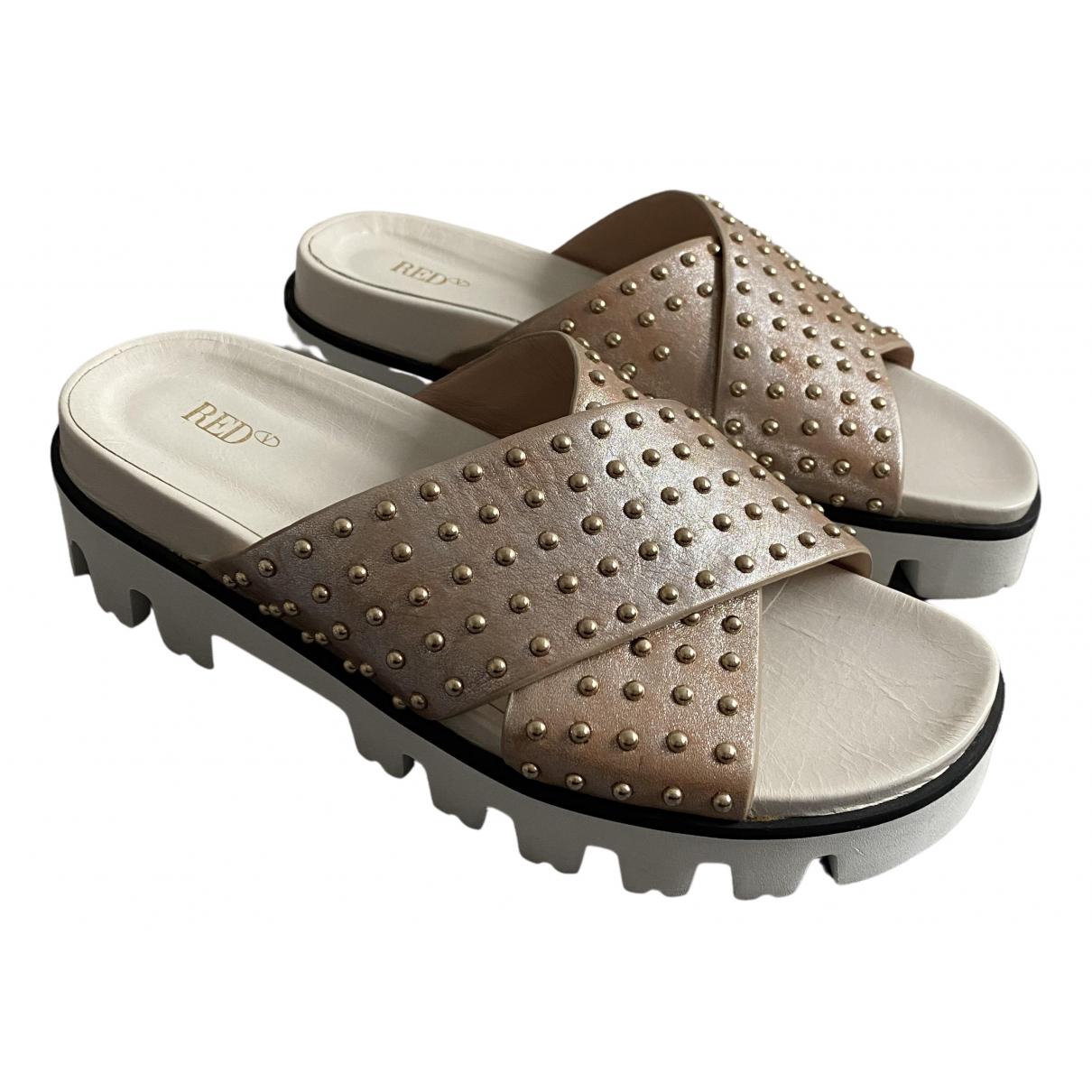 Red Valentino Garavani \N Gold Leather Sandals for Women 37 EU