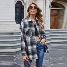 Double Pocket Button Front Plaid Coat