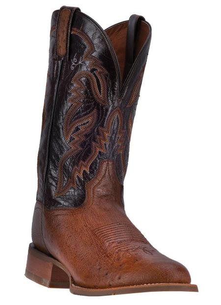 Mens Wide Round Toe Handcrafted Dan Post Conrad Cognac Smooth Boots