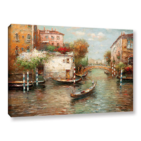 Brushstone Afternoon In Venice Gallery Wrapped Canvas Wall Art, One Size , Yellow