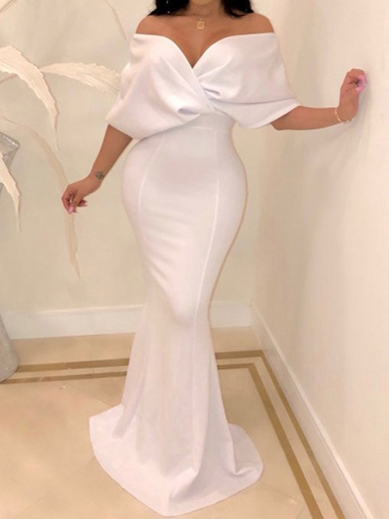 Ericdress Mermaid Batwing Sleeve Strapless Floor-Length Plain Maxi Dress
