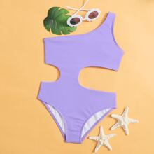 Girls Cut-out One Shoulder One Piece Swimsuit