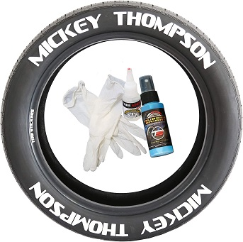 Tire Stickers MCKYTHMP-1921-1-4-W Permanent Raised Rubber Lettering 'Mickey Thompson' Logo - 4 of each - 19