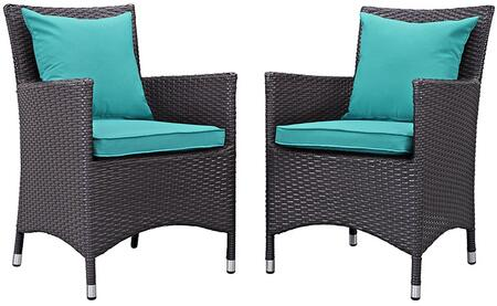 Convene Collection EEI-2188-EXP-TRQ-SET 2 PC Outdoor Patio Dining Set with Fabric Cushions  Water Resistant  Powder Coated Aluminum Frame and