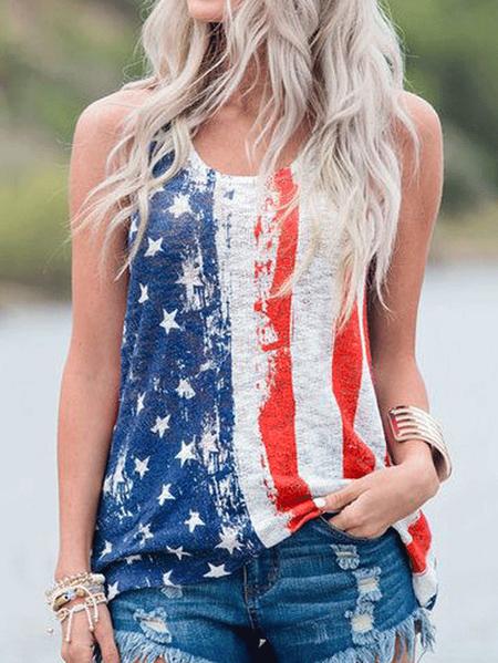 Yoins Red Stripes & Stars Print Round Neck Sleeveless Tank Top In Blue