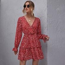 Allover Print Surplice Neck Ruffle Trim Dress