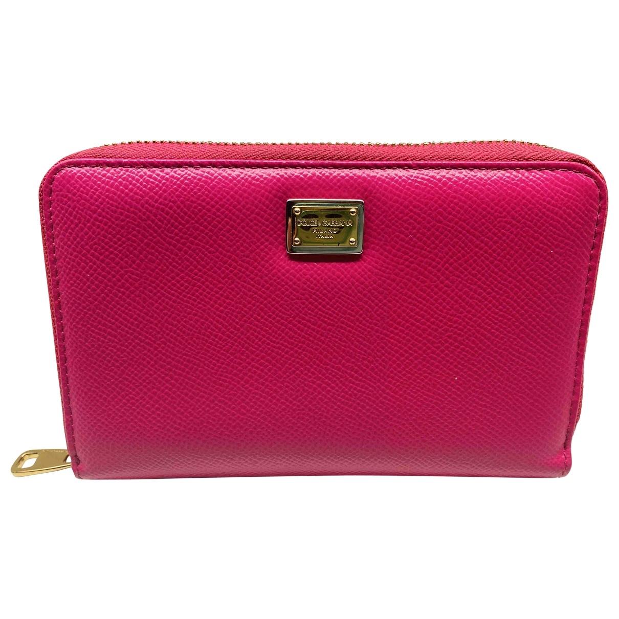 Dolce & Gabbana - Portefeuille   pour femme en cuir - rose