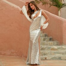 DKRX Cut-out Front Draped Sleeve Sequin Prom Dress