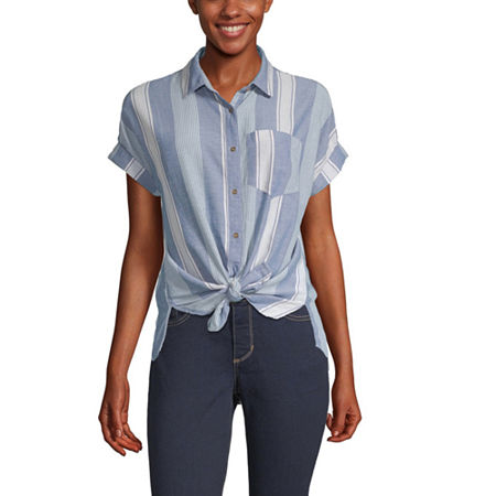 a.n.a Womens Short Sleeve Camp Shirt, X-small , Blue