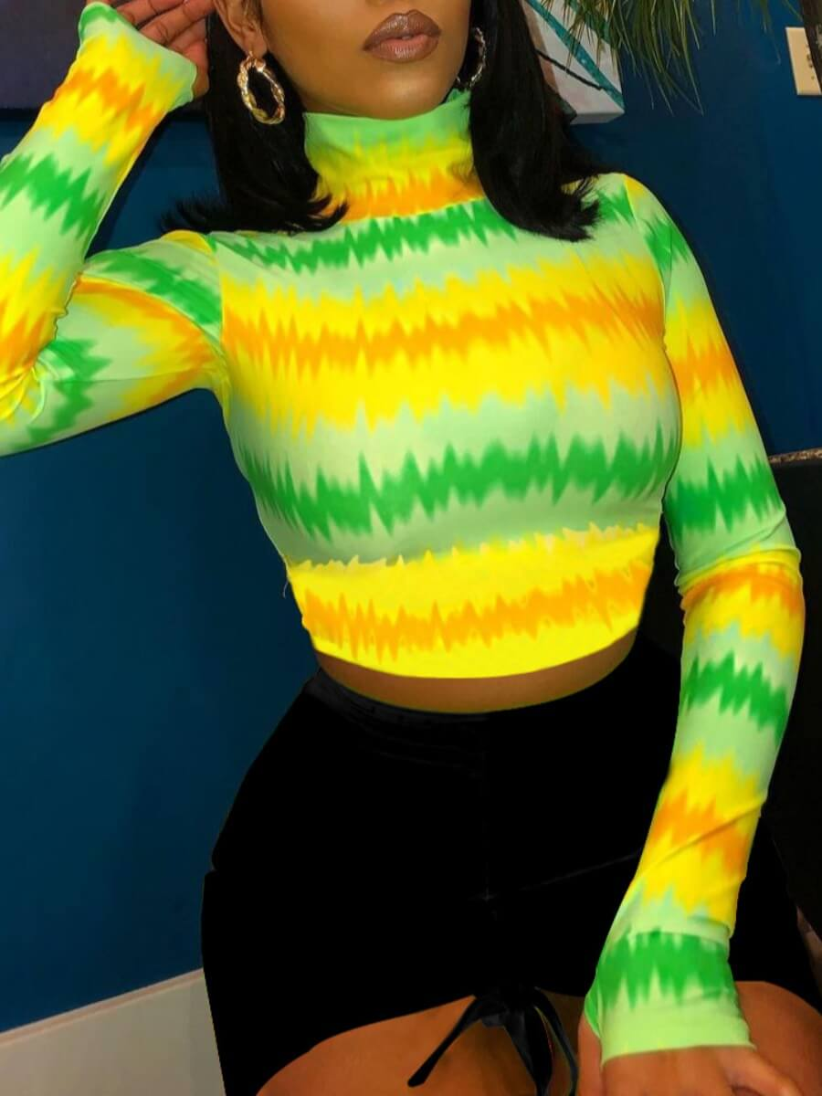 LW Lovely Street Turtleneck Tie-dye Patchwork Green T-shirt