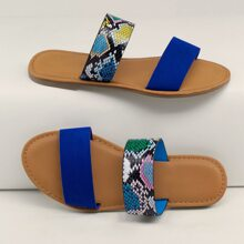 Neon And Snakeskin Twin Band Slide Sandals