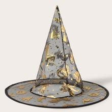 Halloween Hut mit Kuerbis Muster und Netzstoff