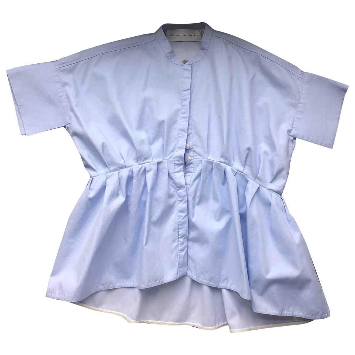 Victoria, Victoria Beckham - Top   pour femme en coton - bleu