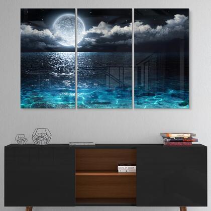 MT9653-3P Romantic Full Moon Over Sea - Multipanel Seascape Metal Wall Art - 36X28 - 3