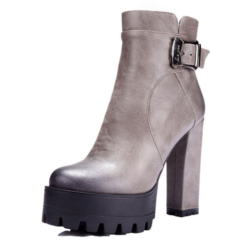 Ericdress Round Toe Platform Chunky Heel Side Zipper Women's Ankle Boots