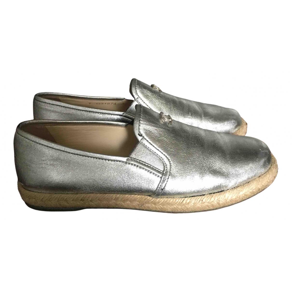 Chanel \N Espadrilles in  Silber Leder