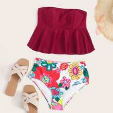 Floral Ruffle Hem Bandeau Bikini Swimsuit