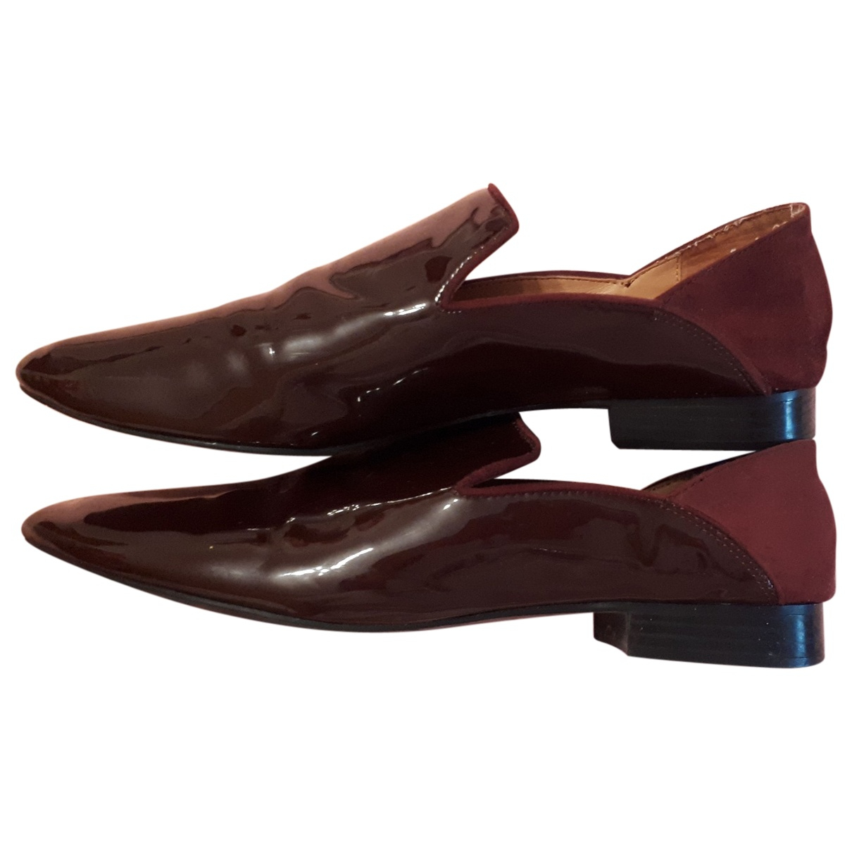 Zara \N Burgundy Patent leather Flats for Women 37 EU