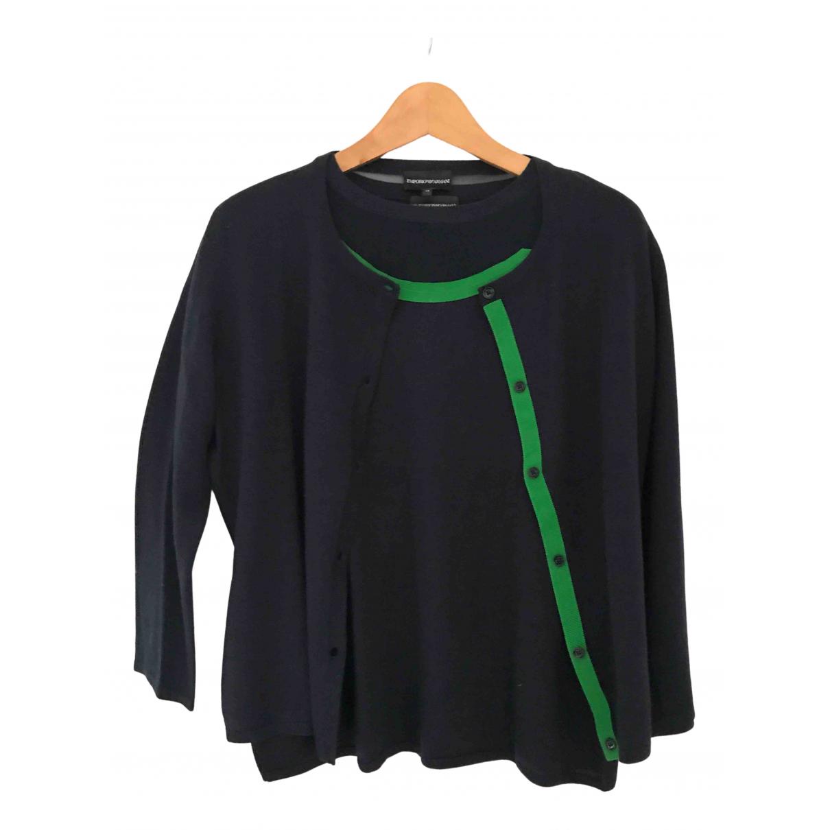 Emporio Armani N Blue Wool Knitwear for Women 48 IT