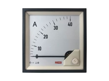 RS PRO Analogue Panel Ammeter 40 (Input)A AC, 96mm x 96mm, 1 % Moving Iron