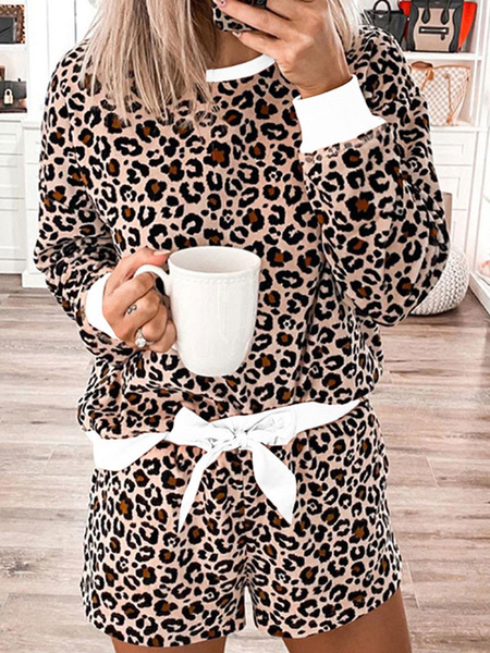 Milanoo Women\'s Loungewear 2-Piece White Leopard Print Long Sleeve Jewel Neck Cotton Outfit Home Wear