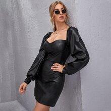 Sweetheart Neck Lantern Sleeve PU Leather Dress