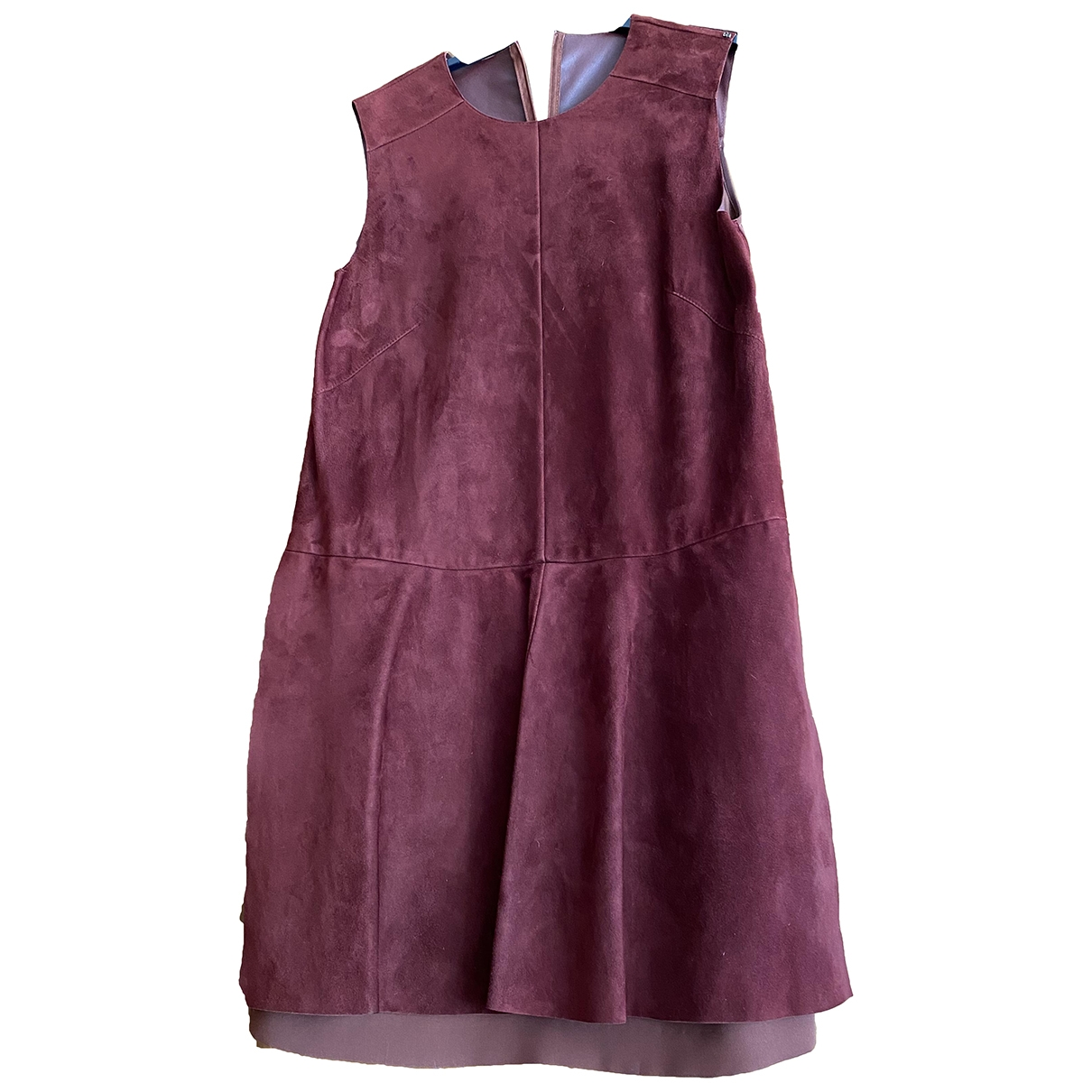 Sport Max \N Burgundy Leather dress for Women 46 IT