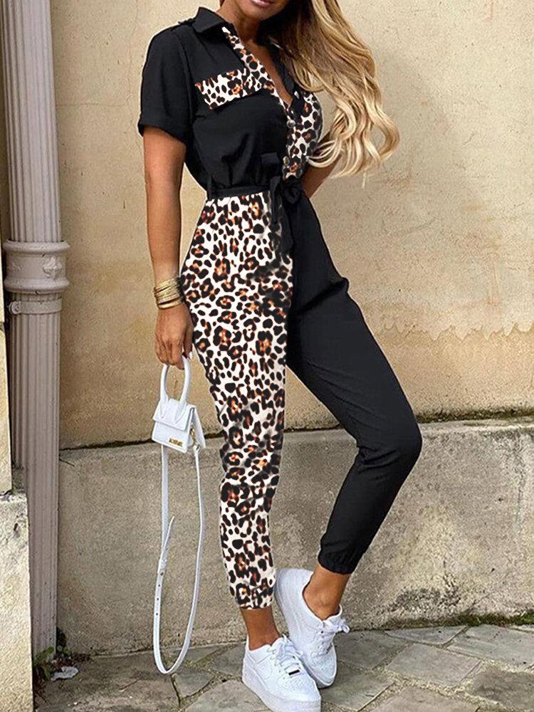 Patch Leopard Print V-neck Short Sleeve Jumpsuit With Belt