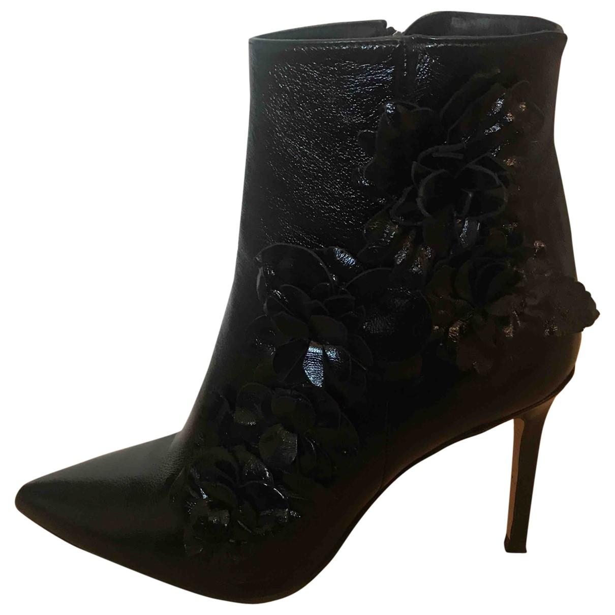 Zara - Boots   pour femme en cuir verni - noir