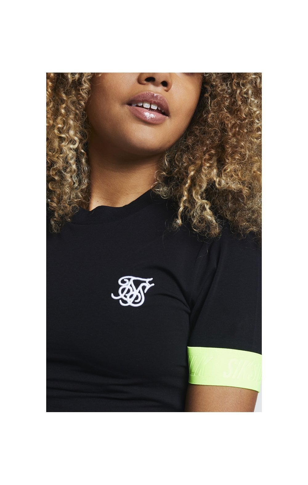 SikSilk Neon Tape Crop Tee - Black WOMEN SIZES: 6-XXS