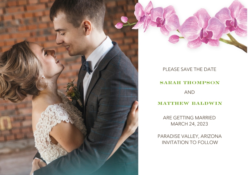 Save the Date 5x7 Cards, Premium Cardstock 120lb with Scalloped Corners, Card & Stationery -Wedding Save the Date Orchids by Tumbalina