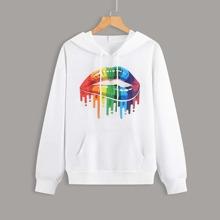 Kapuze mit Regenbogen & Lippen Grafik, Kaenguru Taschen und Kordelzug