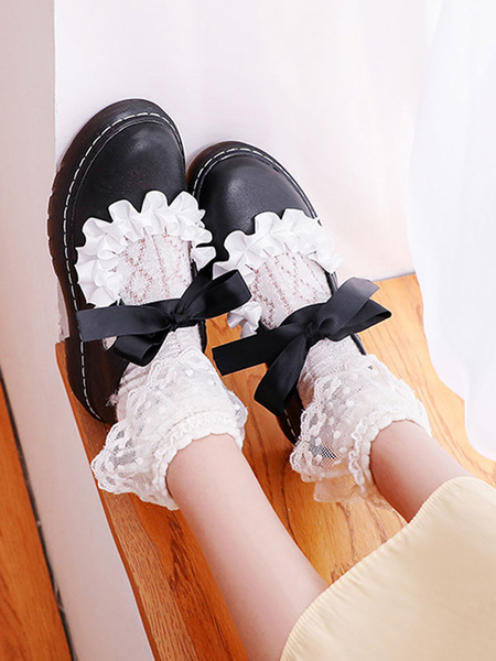 Milanoo Sweet Lolita Footwear BowsRuffles Round Toe PU Leather Lolita Pumps