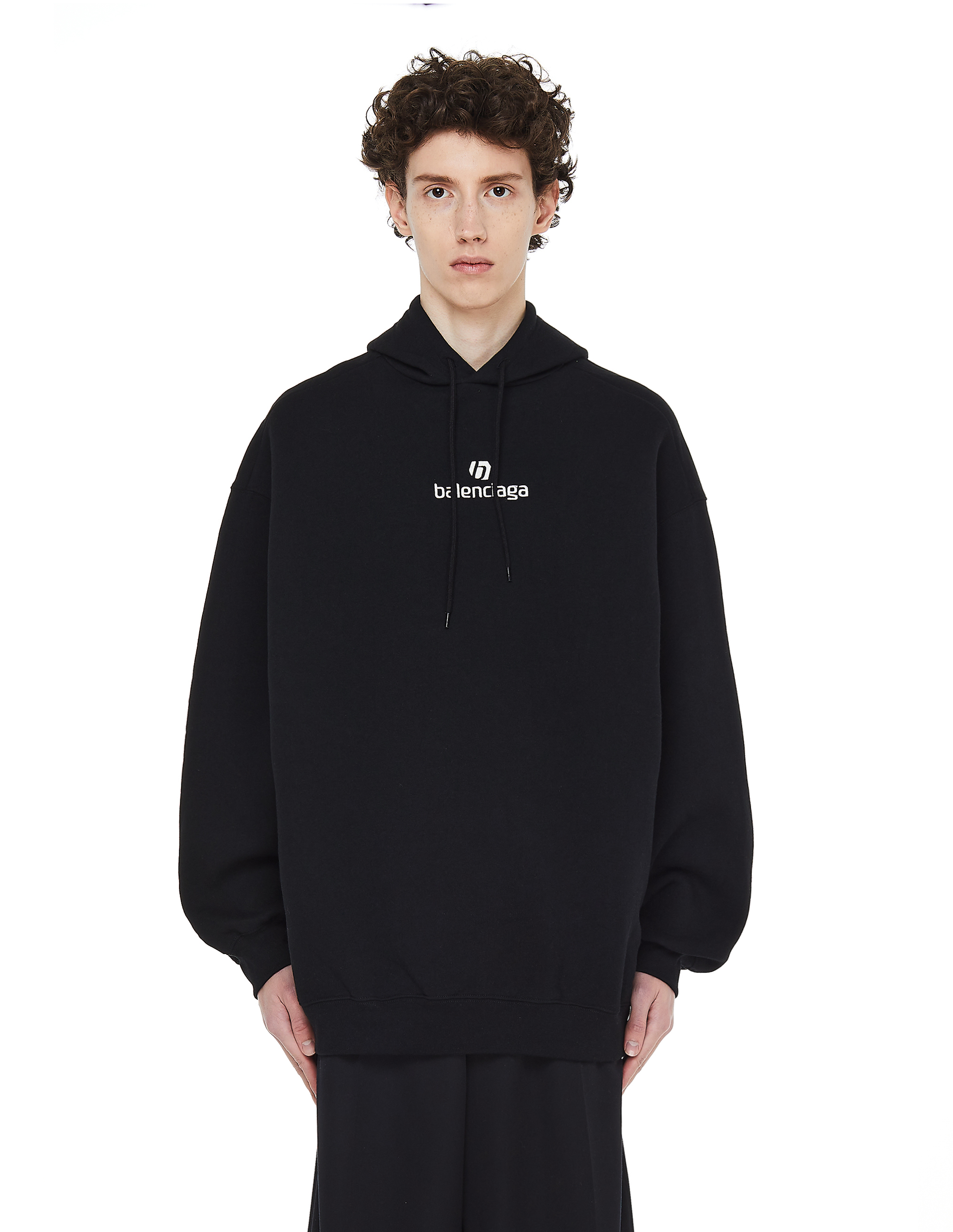 Balenciaga Black Logo Printed Hoodie