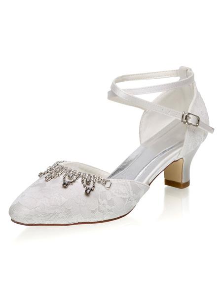 Milanoo Zapatos de novia de malla Zapatos de Fiesta de tacon gordo Zapatos Marfil Zapatos de boda de puntera redonda 5cm con pedreria