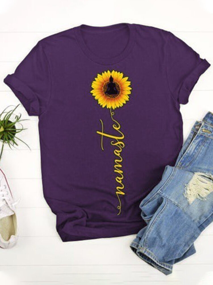Sunflower Printed O-Neck Short Sleeve Casual T-shirt