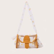 Daisy Graphic Clear Crossbody Bag