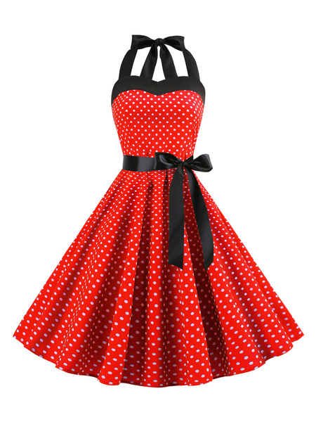 Milanoo Vintage Dress 1950s Sleeveless Woman\'s 96cm-120cm Rockabilly Dress