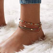 Beaded Layered Chain Anklet 1pc