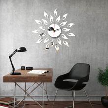 1set Flower Mirror Surface Wall Clock