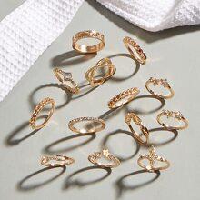 13 piezas anillo grabado con diamante de imitacion