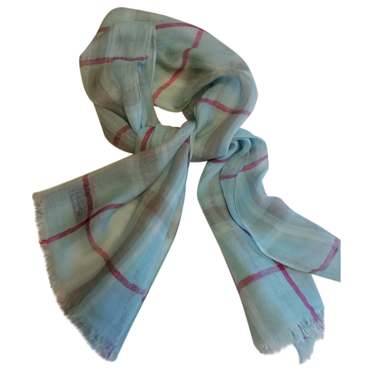 Barbour \N Blue Linen scarf for Women \N