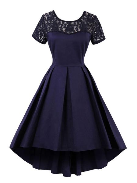 Milanoo Vestido vintage con escote redondo con manga corta adornado con encaje estilo retro