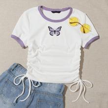 Camiseta ringer tejida de canale con cordon lateral con estampado de mariposa
