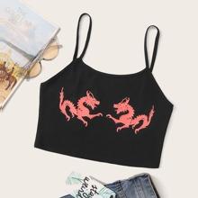 Plus Dragon Print Crop Cami Top