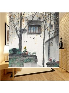 Country Style Watercolor Village Printing 3D Roller Shades