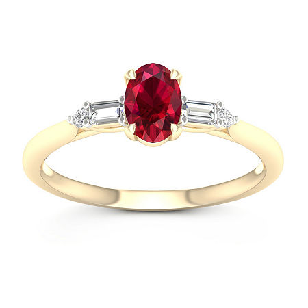 Womens Genuine Red Ruby 10K Gold Promise Ring, 8 1/2 , No Color Family