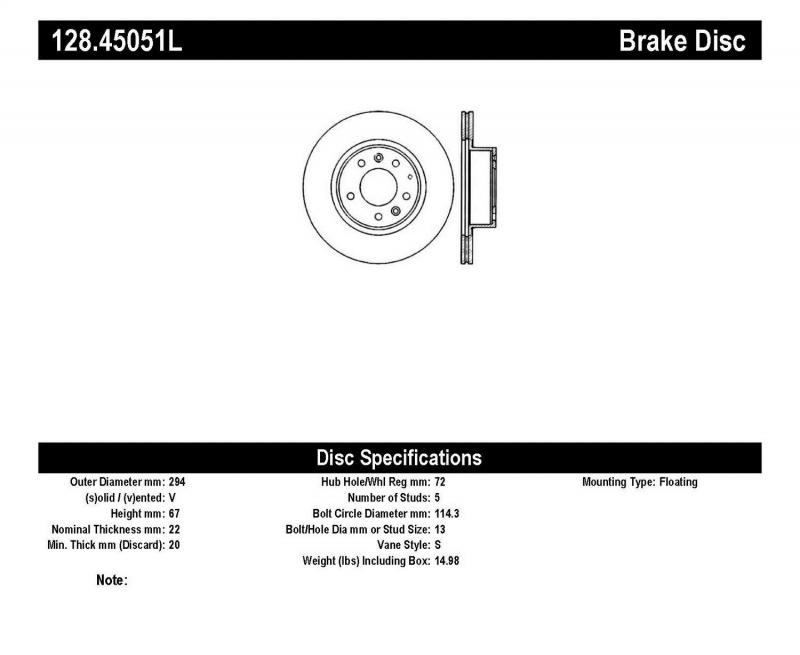 StopTech 128.45051L Sport Cross Drilled Brake Rotor; Front Left Mazda RX-7 Front Left 1993-1995