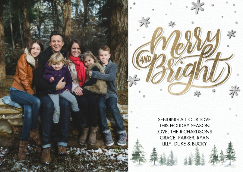 Christmas Photo Cards 5x7 Cards, Premium Cardstock 120lb, Card & Stationery -Christmas Snowfall Merry by Tumbalina