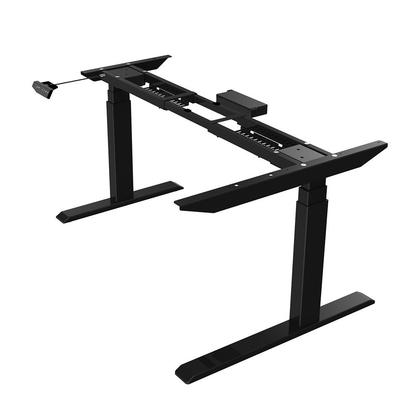 Dual-leg Height Adjustable Electric sit and stand frame for L shape Desk Top Black - PrimeCables®